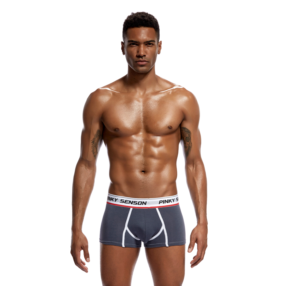 Pinky Senson Men Push Up Underwear Soild Bright Color Sexy Clavin Boxers Shorts Cotton Men Underwear Knickers Male Underpants