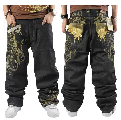 Free shipping Influx of men  hip hop jeans trousers hip-hop casual  relaxed skateboard pants plus fertilizer to increase 30-46