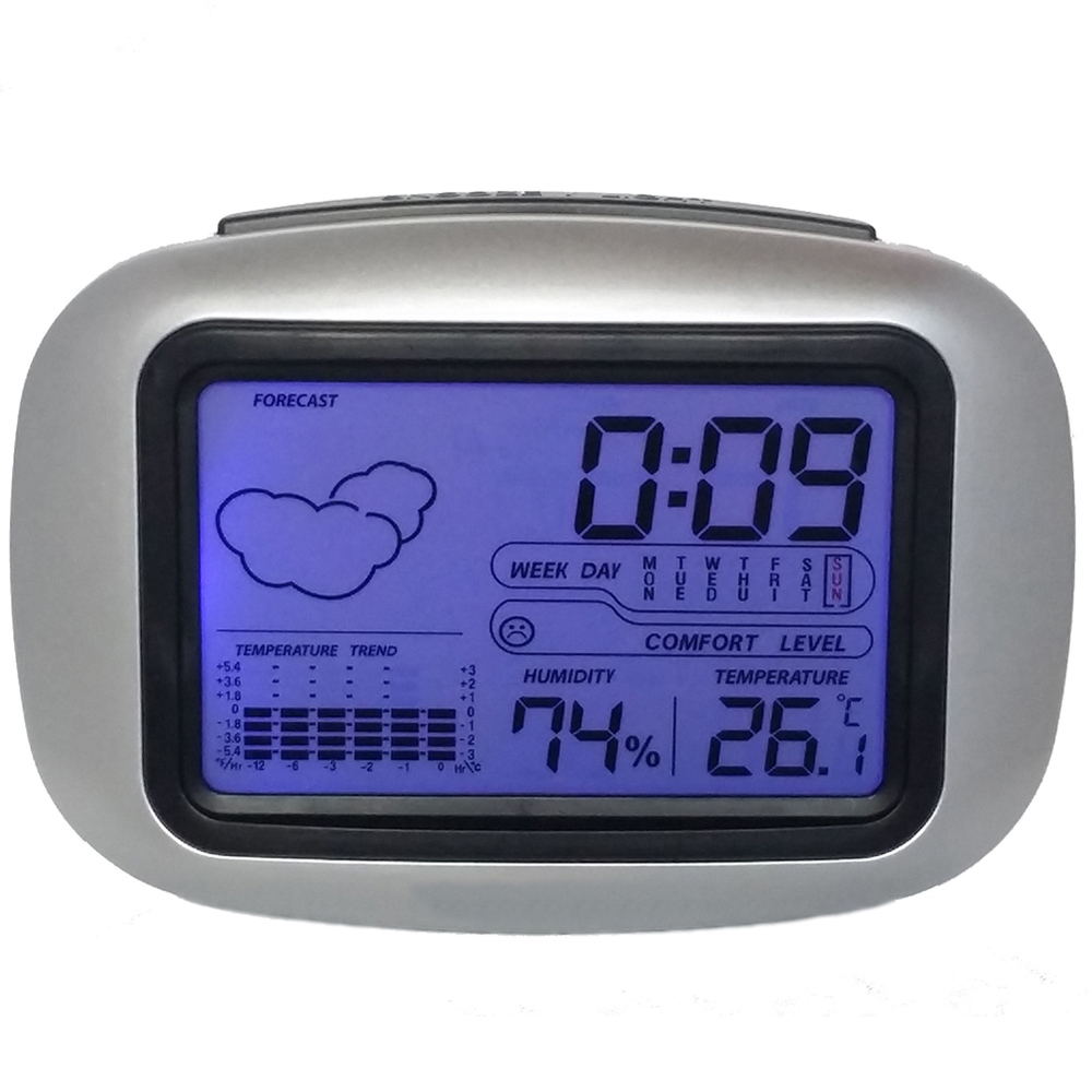 Digital Table Desktop Bedside Wake Up Snooze Alarm Clock Weather Station with Temperature Thermometer Humidity Hygrometer