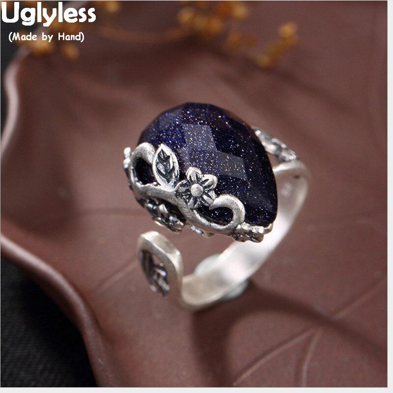 Uglyless Real 990 Fine Silver Nature Chalcedony Waterdrop Women Dress Finger Rings