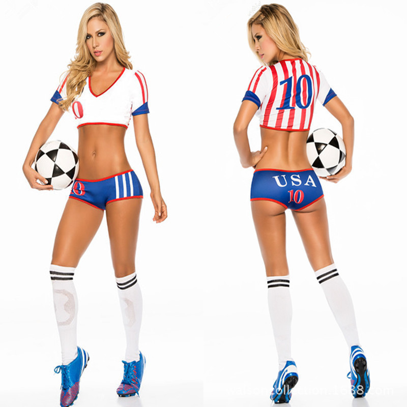 Cosplay sexy uniform soccer player cheerleader world cup football girl borizcustom