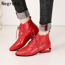 Pointed Toe Square Heel Women Boots 2019 Fashion High Heels Ankle Boots Women Shoes Lace Up Leather Rubber Zapatos Mujer qutaa 2019 women ankle boots fashion lace up pu leather platform square high heel pointed toe shoes women boots big size 34 43