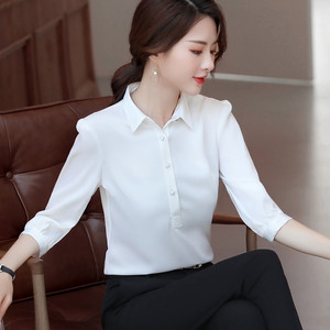 Image 5 - Naviu 2019 New Fashion High Quality Satin Shirt Women Tops and Blouses Office Lady Style Formal Shirt Plus Size Work Wear