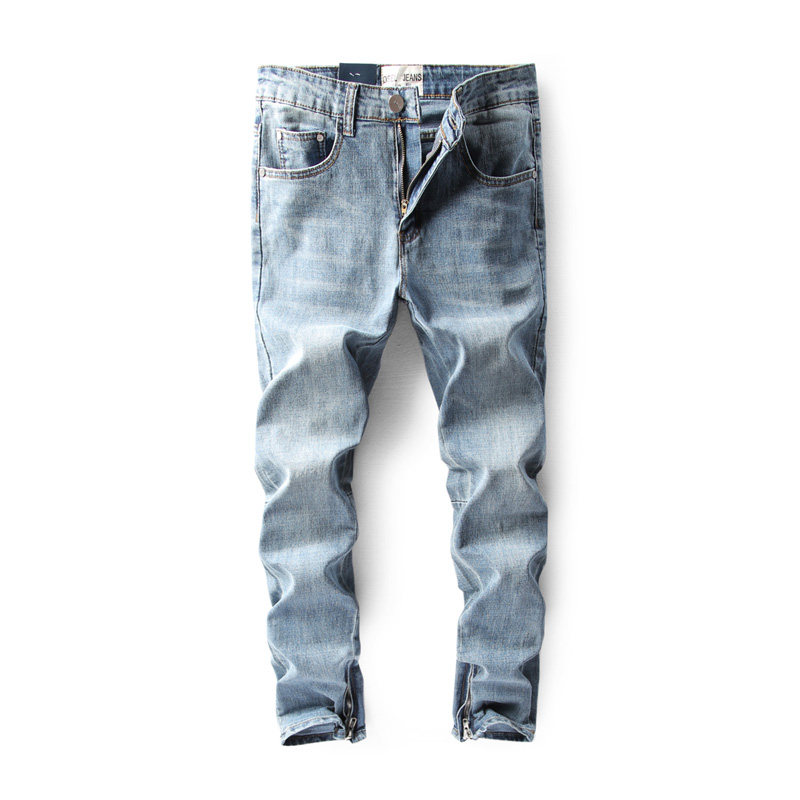 2017 DSEL Brand Mens Jeans Blue Color Elastic Stretch Denim Slim Fit Jeans Men Pants Ankle Zipper Skinny Streetwear Biker Jeans patch jeans men slim skinny denim blue jeans ripped trousers famous brand dsel jeans elastic pants star mens stretch jeans w701