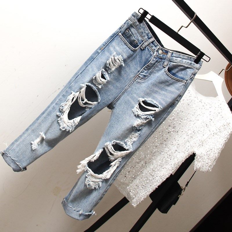 Harajuku Women Oversize Jeans Loose Slim Fitted Vintage Hole Harem Denim Pants Plus Size Hollow Out Boyfriend Style Jeans Pants in Jeans from Women 39 s Clothing
