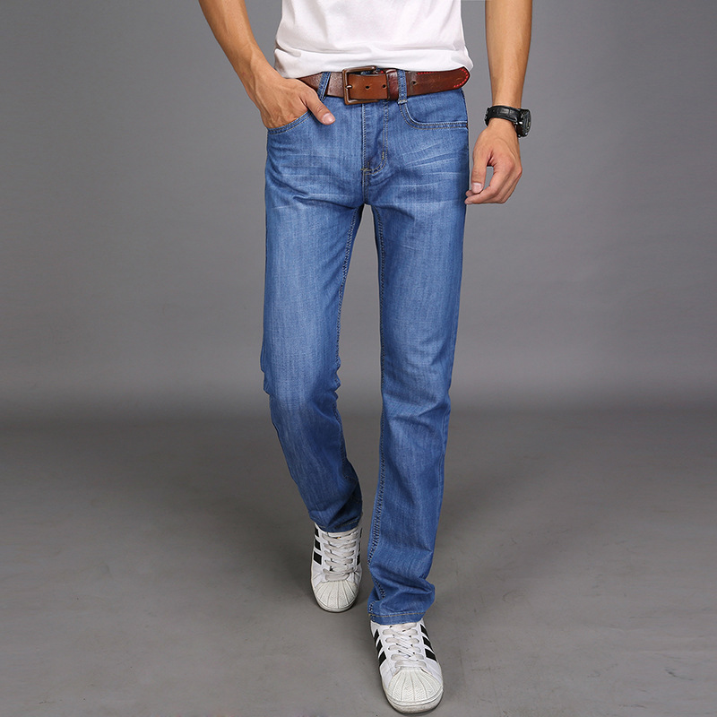 Uwback 2018 Summer Men Straight Pants Washed Slim Jeans Pants Male Casual Denim Pant Middle Waist Long Trousers Plus Size XA238
