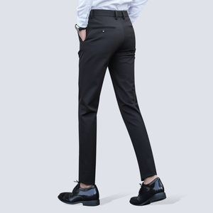 Image 3 - Mens Wrinkle Free Casual Stretch Solid Trouser Pant Flat Front Slim Straight Fit Summer Thin Dark Blue Business Dress Pants