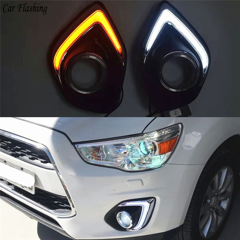 Car Flashing 1Set LED DRL COB Daytime Running Lights Daylight Waterproof Fog Head Lamp with Signal