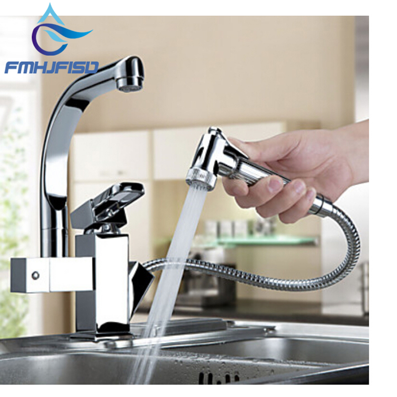 цены  Luxury Pull Out Sprayer Single Handle Hole Kichen Faucet Deck Mounted Chrome Brass Vessel Sink Mixer Tap Dual Spouts