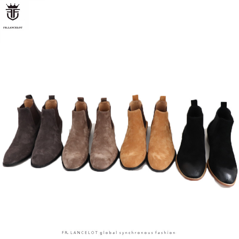 FR LANCELOT 2019 Luxury Brand Suede Shallow Elasticity Ankle Boots For MenLow Heels Chelsea Boots Zapatos