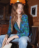 2019 New Women Silk Blouse Blue Green Print Long Sleeve V Neck Shirt
