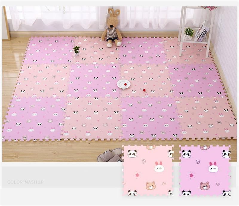 HTB1LgSCaBCw3KVjSZFuq6AAOpXaR EVA Foam Children's Mat Split Joint Baby Play Mat Puzzle Cartoon Panda Patterns Soft Floor Carpet For Baby Crawling Exercise