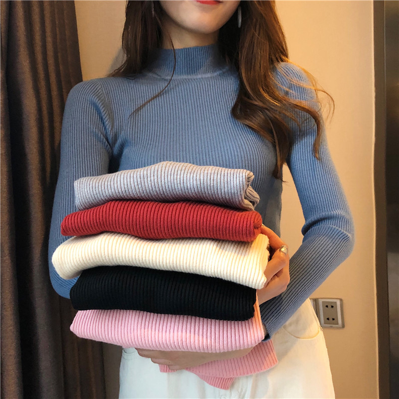 Winter Knitting Sweater Pullovers Women Long Sleeve Tops Turtleneck Knitted Sweater Chic Woman Clothes Female Casual Streetwear 1