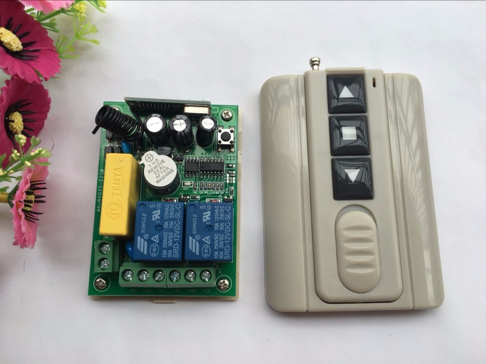 latest AC 220V 2 CH 2CH Remote Control Garage Door RF Wireless Remote Control Switch System 1pcs Transmitter + 1pcs Receiver digital 12v 1 channel fixed code rf gate garage door 1 transmitter and 12 receiver remote control switch 4313