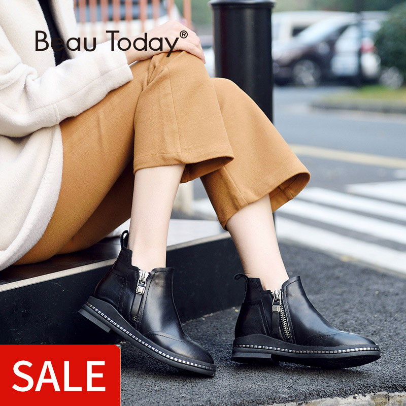 BeauToday Ankle Boots Women Genuine Calf Leather Wingtip Double Zippers Round Toe Shoes Ladies Handmade Ankle