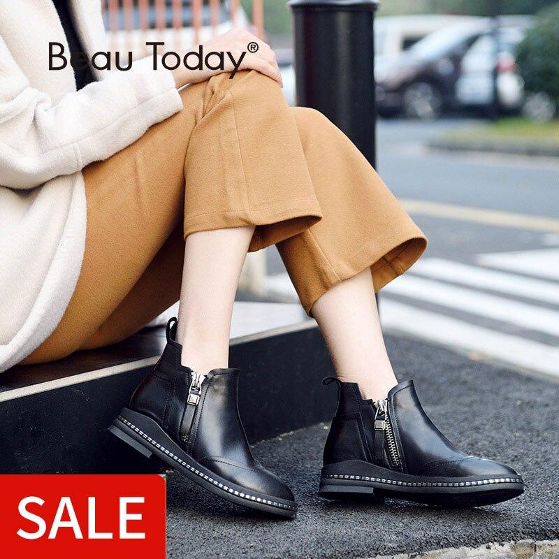 BeauToday Botines de Mujer de Piel de becerro Genuino Wingtip Cremalleras Dobles Zapatos de Punta Redonda Damas Botines Hechos A Mano 03105