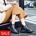 BeauToday tobillo botas mujer cuero de becerro genuino Punta doble cremalleras zapatos de punta redonda zapatos hecho a mano de las señoras tobillo bota 03105
