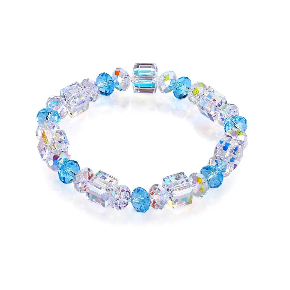 BAFFIN Beads Charm Bracelet Bangles For Women Crystals From Swarovski Luxury Colorful Fancy Stones Strand Bracelet Elastic Rope