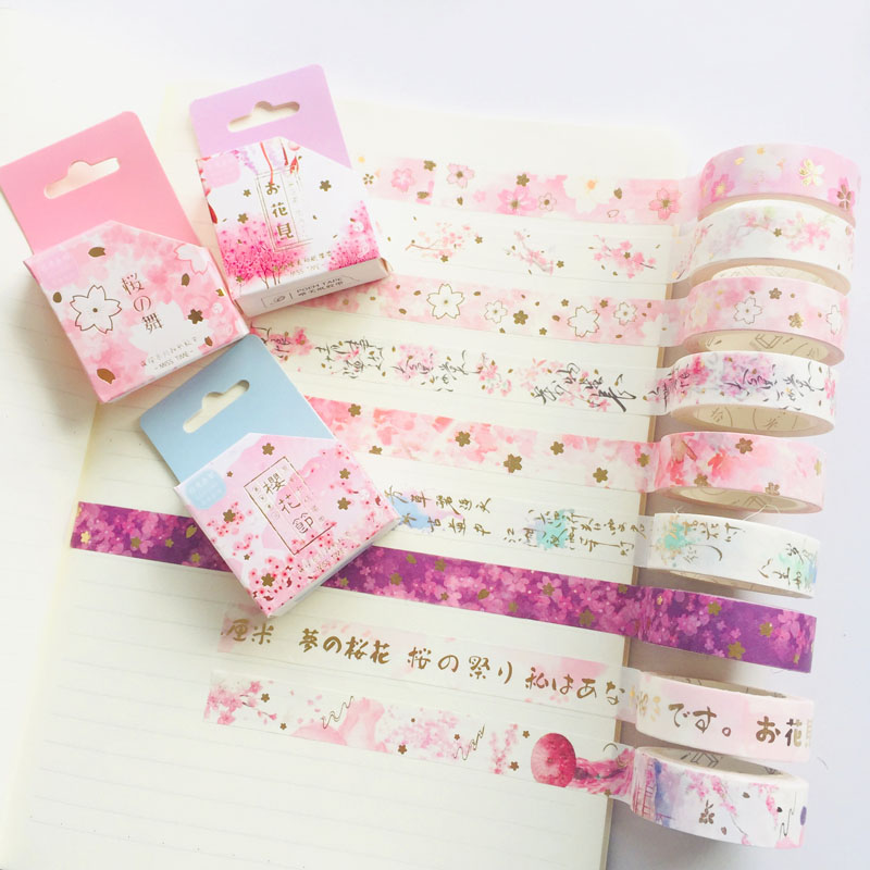 1 Roll 1.5mm*7M Romantic Sakura Paper Masking Tape Album Scrapbooking Decor Washi Tape Stick Label