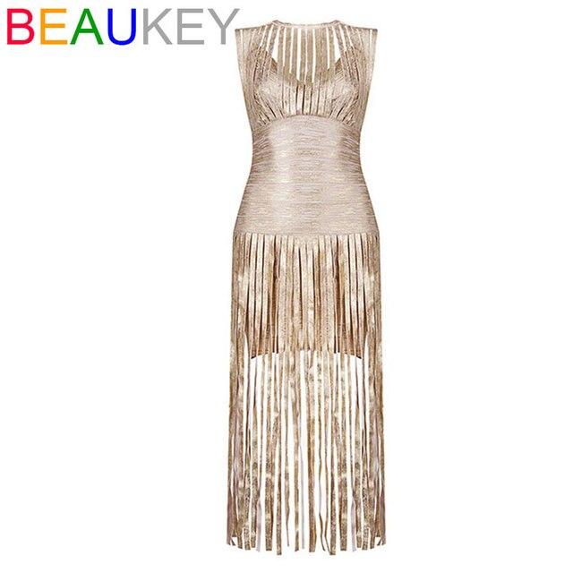 2016 Women\'s New Party Fashion Sleeveless Metallic Gold Tassel Maxi ...