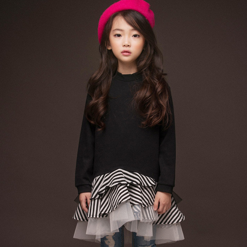 2018 New Sweatshirt Girl Dress Kids Autumn Cotton Stripe Patchwork Ruffle Tutu Dresses Big Girl Fashion Clothes For 4-14 Yrs patchwork ruffle detail top