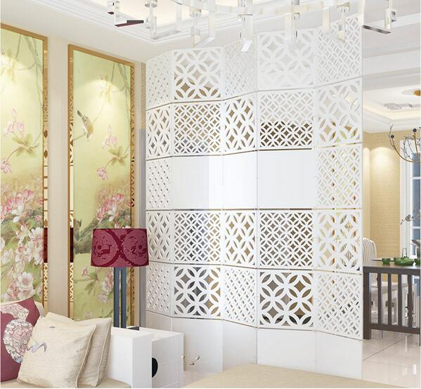 Modern Simple A living room Hanging folding screen Hollow White ...