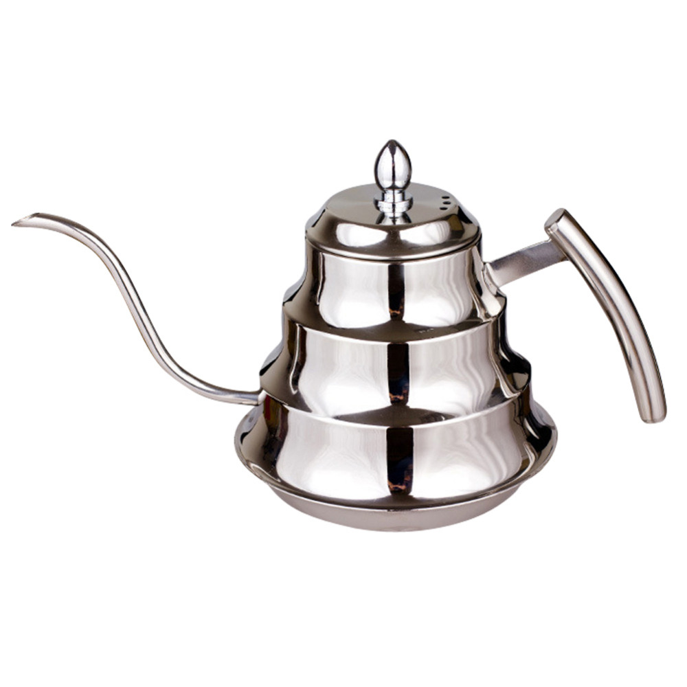 High Quality Kitchen Coffee Pot Stainless Steel Coffee Drip Kettle Tea Pot, 1.2L Fine mouth coffee pot FG