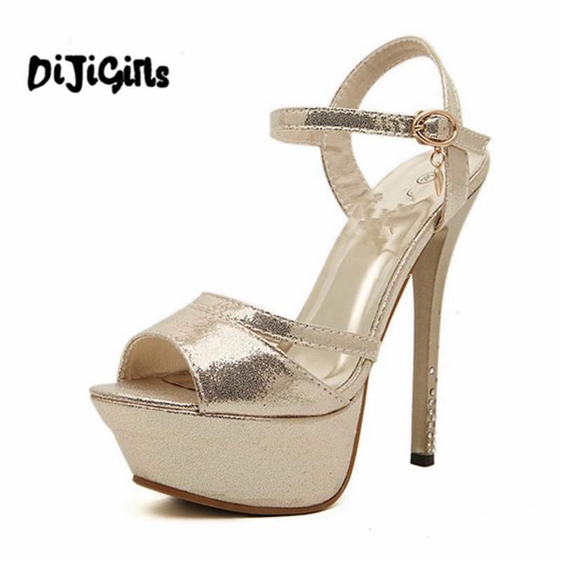 Hot 2018 Summer Rome Style Sandals Fashion 14cm Gladiator Women Sandals Platform High Heels Luxury Gold Silver Shoes Woman 32 43 big size summer woman platform sandals fashion women soft leather casual silver gold gladiator wedges women shoes h19