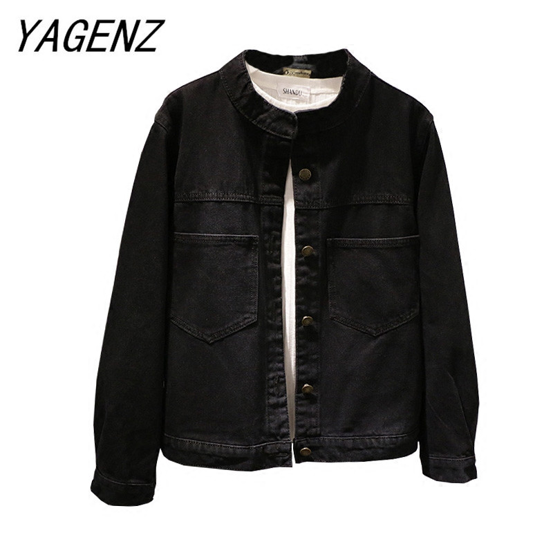 Single-breasted women jeans jacket Short outerwear Spring loose long-sleeved with pocket denim jacket casual female basic jacket