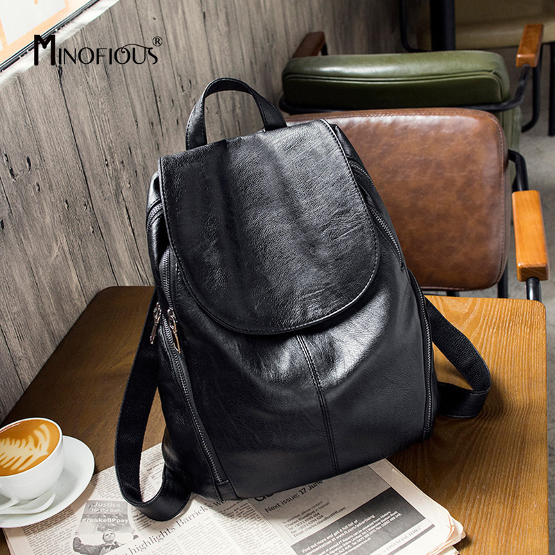 MINOFIOUS Sheepskin Leather Soft Backpacks Women Fashion Casual Black Back Bag Solid Simple School Bags Large Capacity Backpack simple beautiful elegant leather backpack women soft calfskin casual wild fashion solid color cover travel backpacks bag
