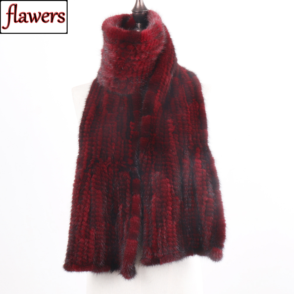 2019 New Arrive Winter Autumn Lady Fashion Mink Fur Scarf Knitted Real Mink Scarves 170X15CM Warm Elegant Women Fur Muffle-in Women's Scarves from Apparel Accessories on AliExpress