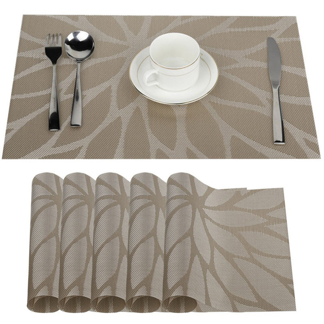 Europe Style Heat Resistant PVC Kitchen Dinning Stripe Table Placemats for Table Mat Tableware Bowl Dish Cup Mats Coaster Pad