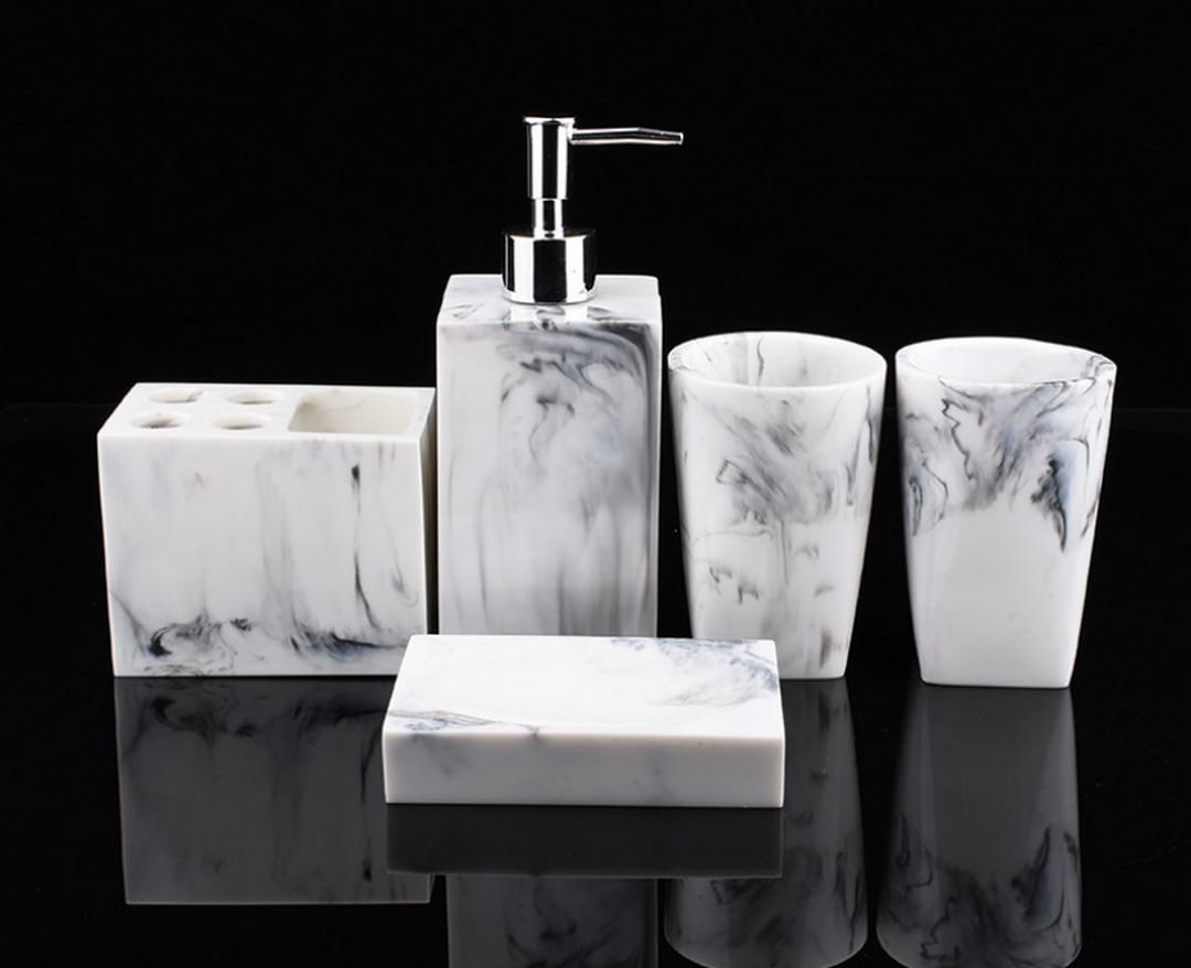 Fashion 5pcs Kit Resin Wash Bathroom Accessories  Set Ceramics Soap Dispenser/Toothbrush Holder Soap Dish Bathroom ProductLFB289