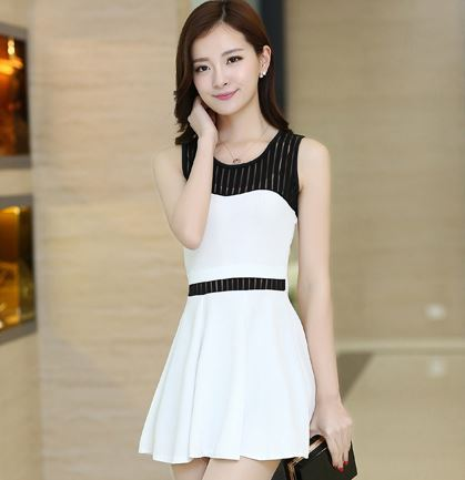 267f9db55c8 S-XXL Plus Size Cute Summer Dress Black and White Sexy Korean Style Office Dresses  Formal Short Sleeveless Dress for Party