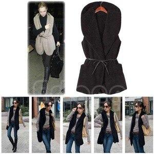 Image 5 - 여자 까마귀 긴 조끼 민소매 자 켓 가짜 양고기 모피 코트 조끼 겉옷