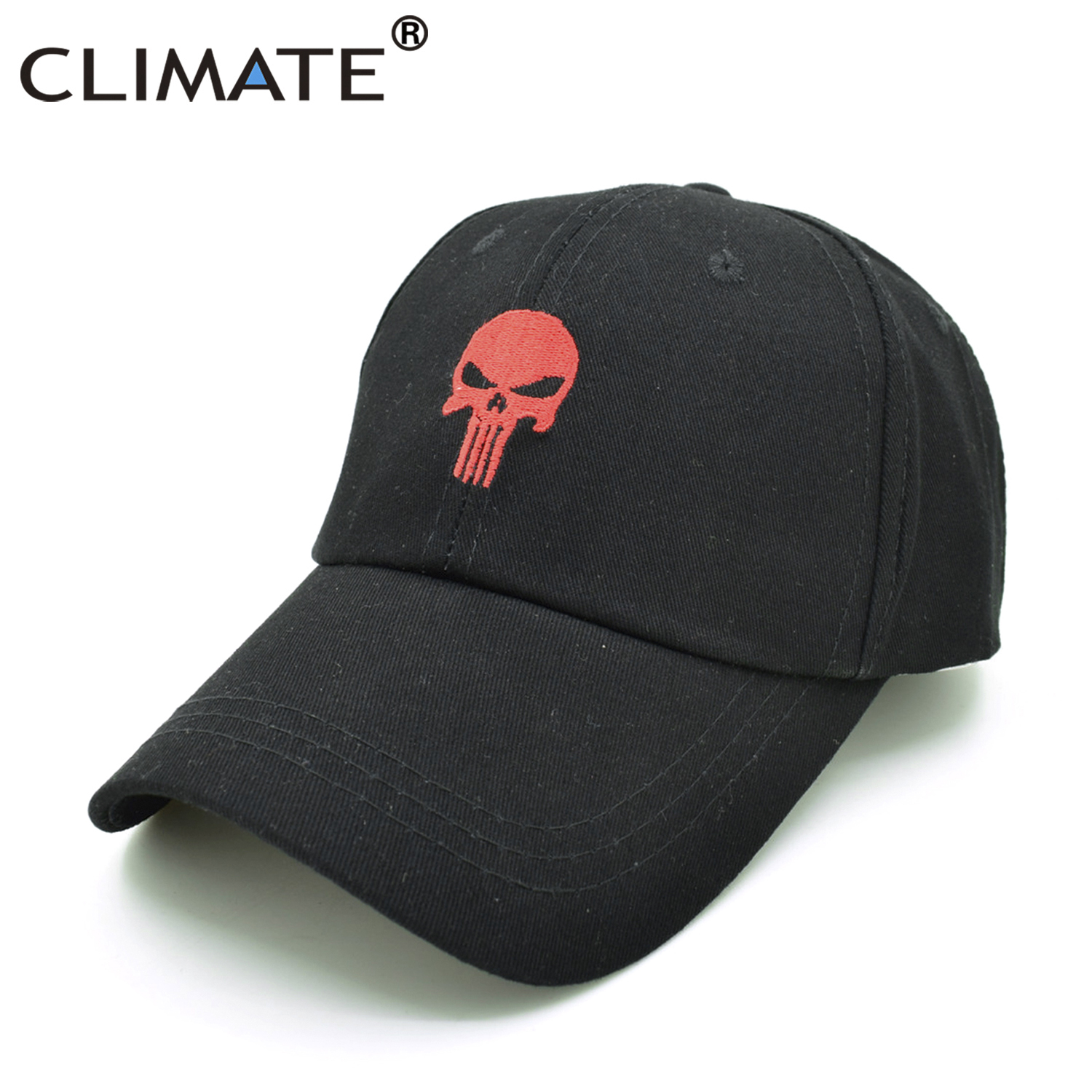 601cf58b7a4 CLIMATE New Men Cool Caps The Skull Dad Cap Hats Hot Black Cotton GYM  Sports Baseball Snapback Hats Caps Hat for Men