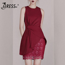 INDRESSME 2019 Summer New Fashion Round Neck Sleeveless Ruched Asymmetrical Hem Top and Lace Skirt Two-piece Set Slim Party Red