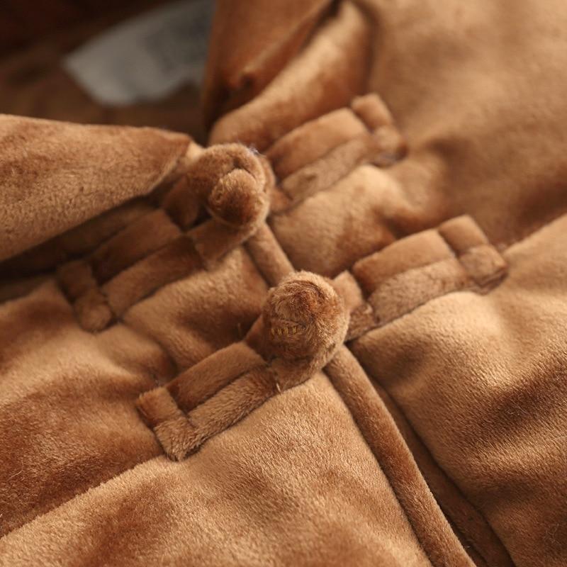 Long Vintage À Capuchon Femmes Bouton Velours New Deux Couleurs Plaque Manteau Épais Or Noir marron Hiver Chaud 8wvU5