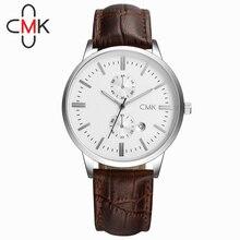 CMK Banda de Cuero Reloj de Los Hombres de Negocios de Moda Relojes Para Hombre Top Brand Hombres de Lujo Del Deporte Militar reloj de Cuarzo Relogio masculino 2016