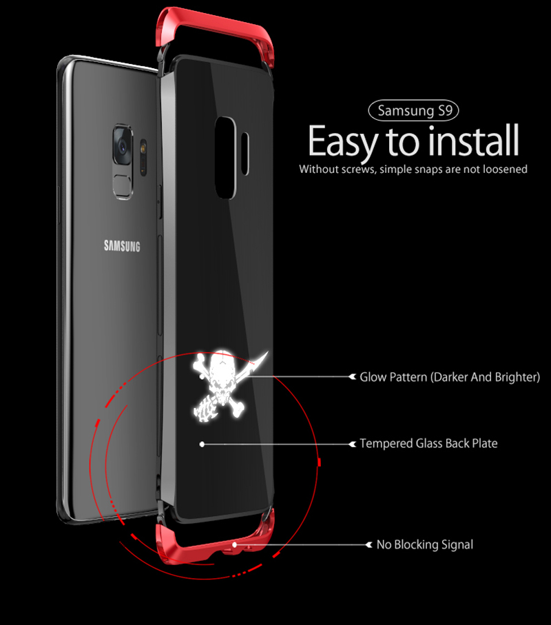 LUPHIE NFC LED Flash Case For Samsung S9 Metal Transparent Bumper Tempered Glass Back Cover(7)