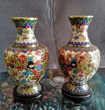 7.88 inch/Collect Chinese cloisonne carving a pair of dragons and phoenixes vase