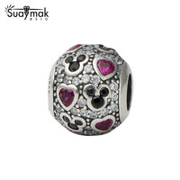 SUAYMAK Newest DIY Compatible Fit For Pandora Beads Charms Bracelet Sterling Silver 925 Mickey Love Charms