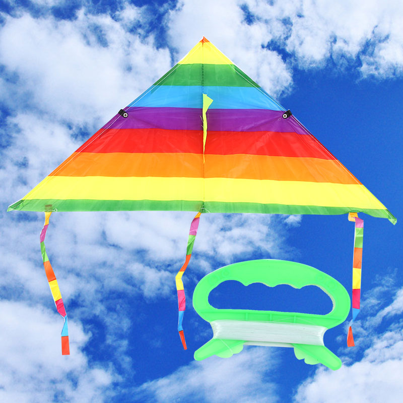 Colorful Rainbow Kite Long Tail Polyester Outdoor Kites Flying Toys For Children Kids Stunt Surf Kite With Control Bar and Line image