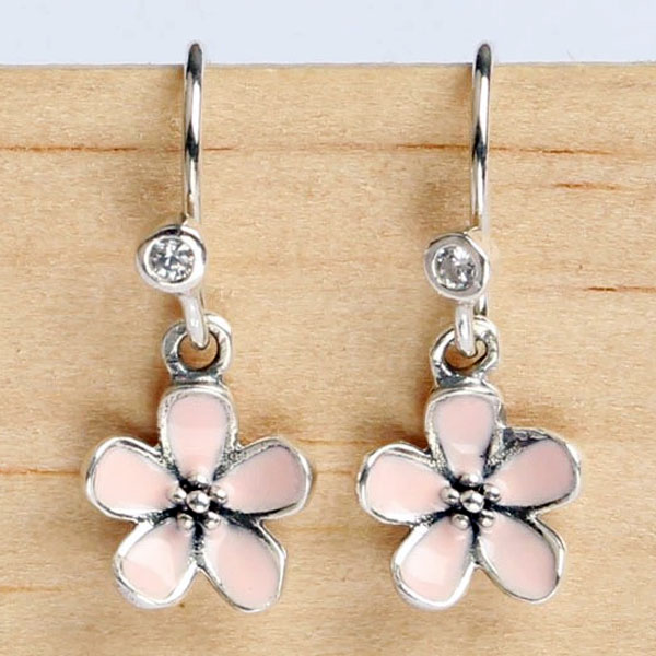 New 925 sterling silver earring pink enamel cherry blossom flower new 925 sterling silver earring pink enamel cherry blossom flower with crystal earrings for women wedding gift europe jewelry in stud earrings from jewelry mightylinksfo
