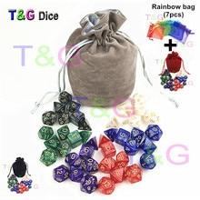 T & G Высокое качество перламутровый блеск D & D кости комплекты 7 шт. * 6 компл. с D4 D6 D8 D10 D10 % D12 D20 с бархатной кости сумка для Rpg