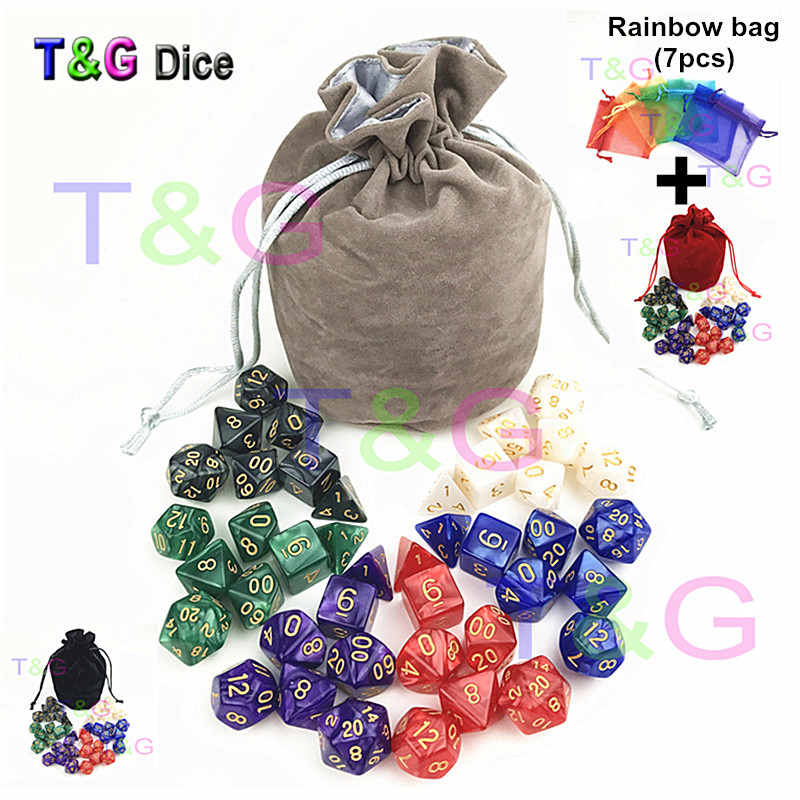 T&G High Quality Pearlized Effect D&D Dice Sets 7PCS*6Sets with D4 D6 D8 D10 D10% D12 D20 with Velvet Dice Bag for Rpg