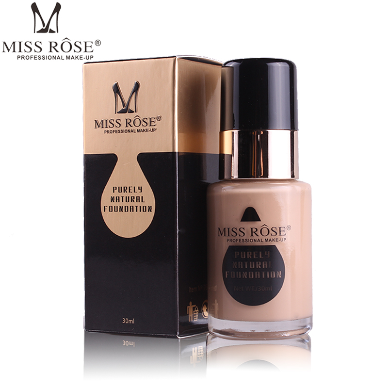 MISS ROSE Professional Liquid Foundation Makeup Face Brightener Whitening Full Covers Long Lasting Base Foundation Cosmetics puff liquid foundation 216