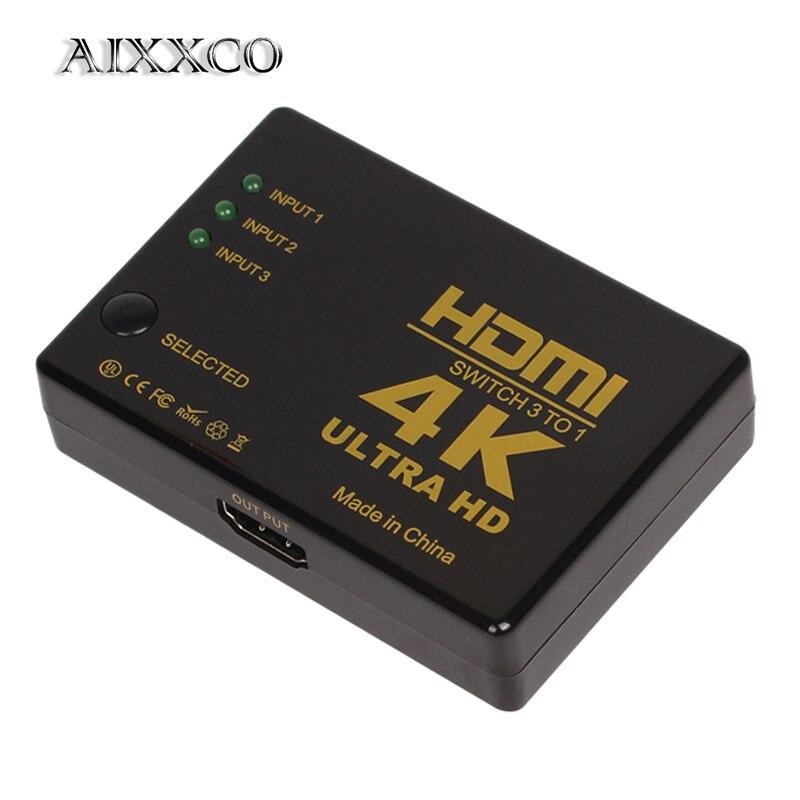 Aixxco 4 k * 2 k 1080 p hdmi vídeo divisor de sinal de áudio 3 entrada 1 interruptor de saída switcher para dvd/ps4/hdtv