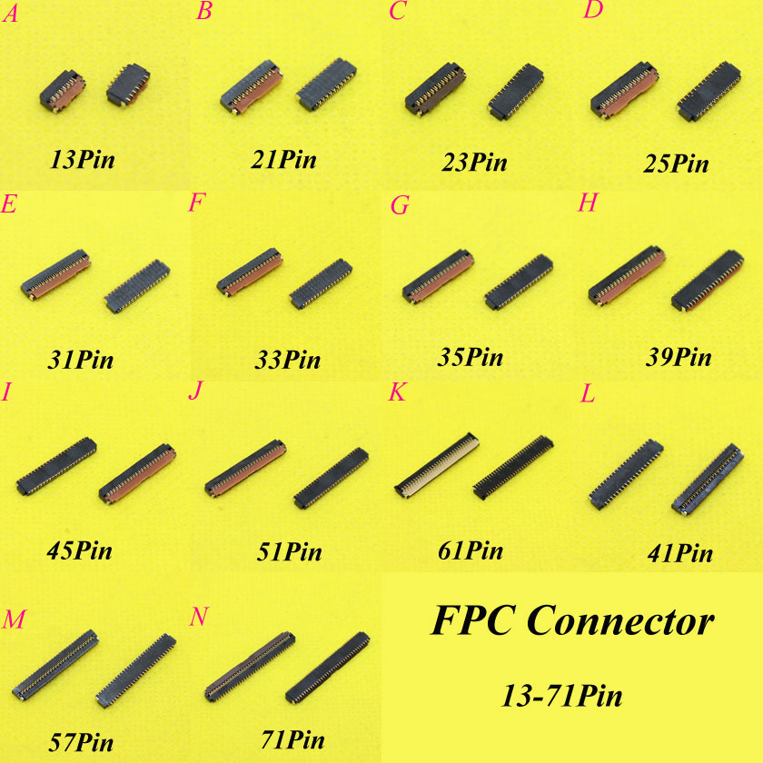 Cltgxdd FPC Connector Socket 13 21 23 25 31 33 35 39 41 45 51 61 57 71 Pin LCD Display Screen Connector Port On Mainboard Part