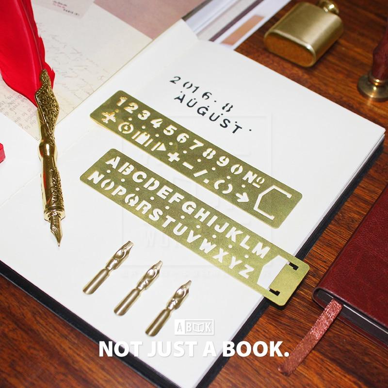 bookmark ruler vintage brass scale digital letter cutout ruler traveler's notebook digital midori hobo loose leaf